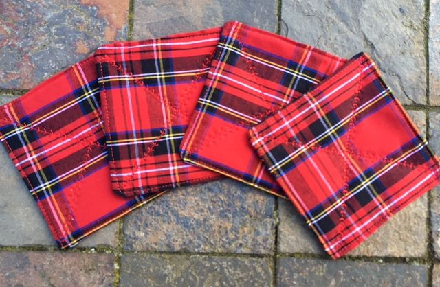 Quilted red tartan coasters - set of 4