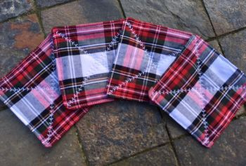 Quilted red and white tartan coasters - set of 4 (Stewart Dress Modern)