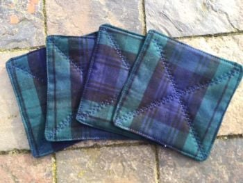Quilted navy and green tartan coasters - set of 4 (Black Watch)