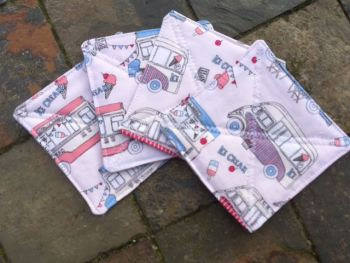 "Quilted ""Ice Cream Van"" themed coasters - set of 4"