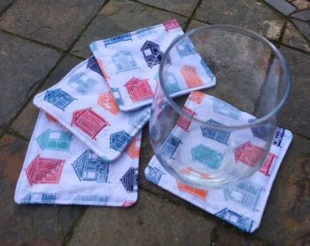 "Quilted ""Beach Hut"" themed coasters - set of 4"