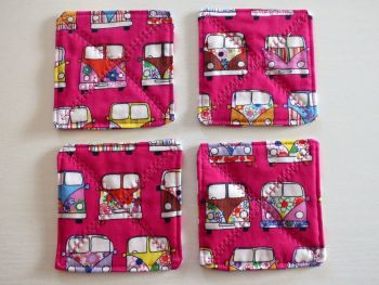 """Quilted Cerise Pink """"VW"""" themed coasters mug rugs - set of 4"""