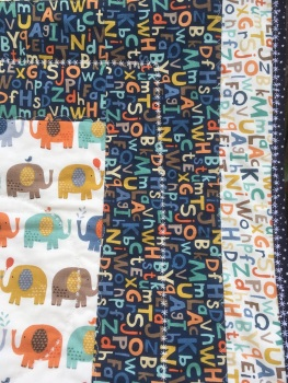 Elephant and Alphabet letters handmade patchwork Cot quilt