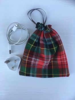 Small Caledonia tartan drawstring gadget/makeup bag