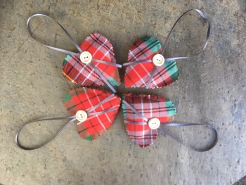 Caledonia Tartan small cushion with hanging ribbon