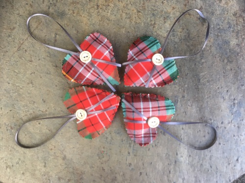 Caledonia Tartan heart shaped lavender filled cushion with hanging ribbon