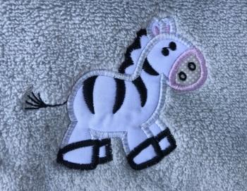 Zebra appliqué luxury hand towel and facecloth set