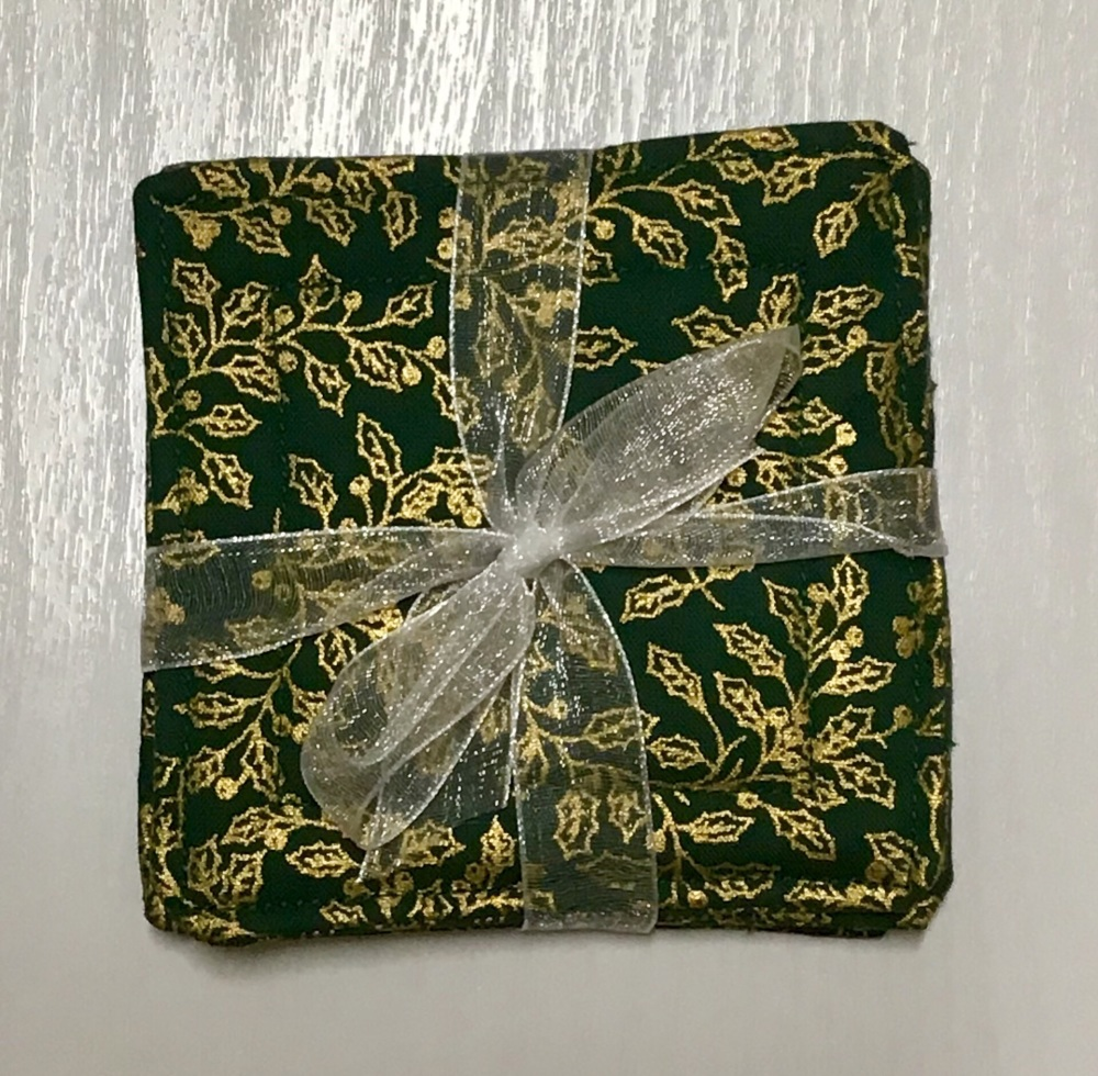 Green and gold Christmas tree coasters/Mug Rugs - set of 4