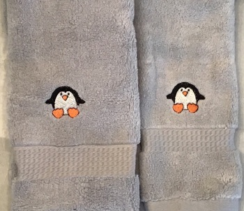 Penguin embroidered luxury hand towel and facecloth set