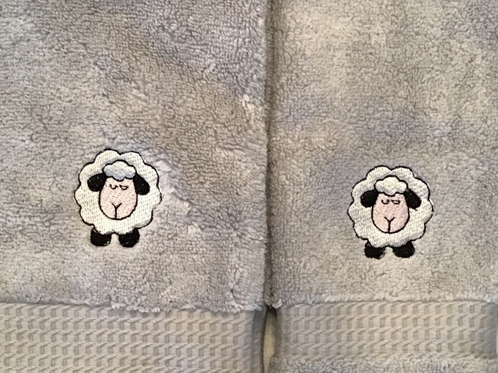 PERSONALISED OPTION - Sheep embroidered luxury hand towel and facecloth set