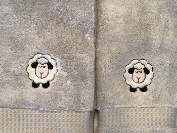 Sheep embroidered luxury hand towel and facecloth set (with option to personalise)
