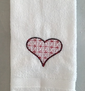 Embroidered Heart hand towel