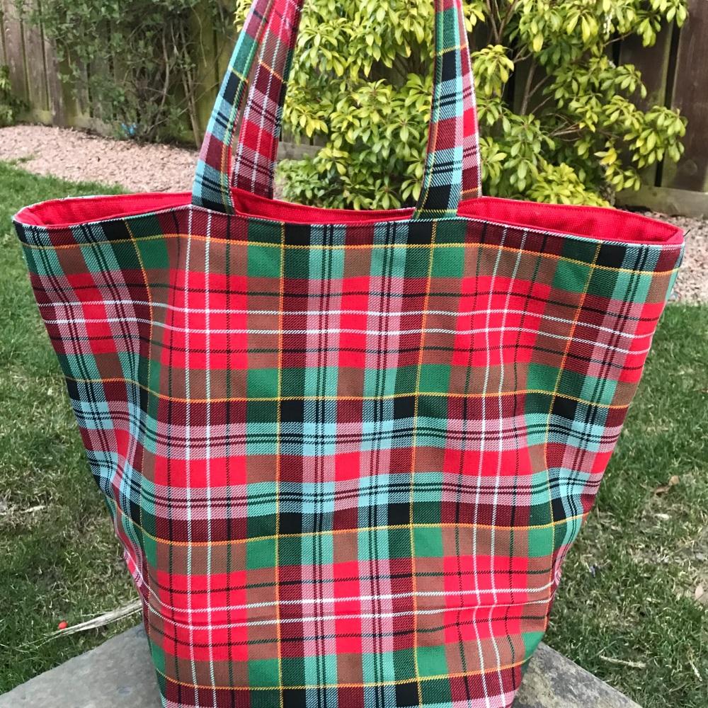 Caledonia Tartan Quilted Storage Bucket Bag