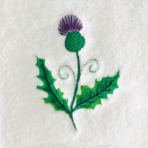 Thistle embroidered white luxury Handtowel