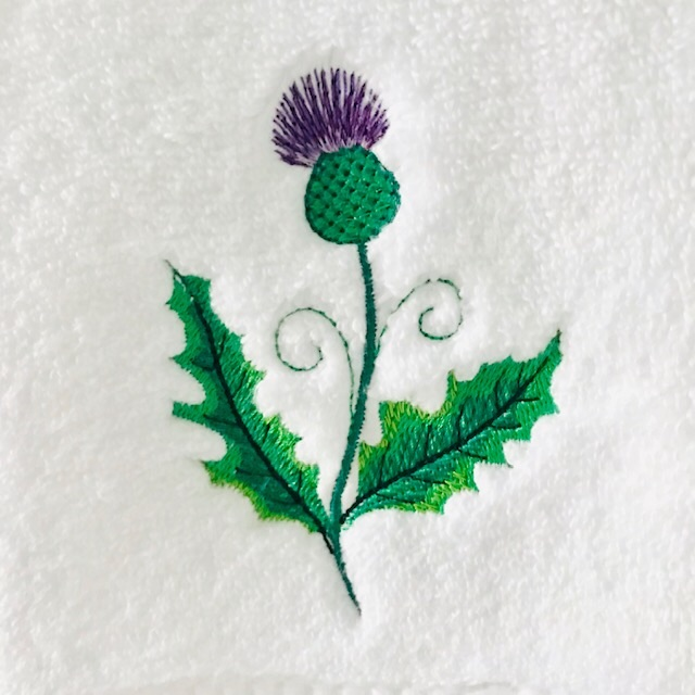 Thistle embroidered white luxury Handtowel