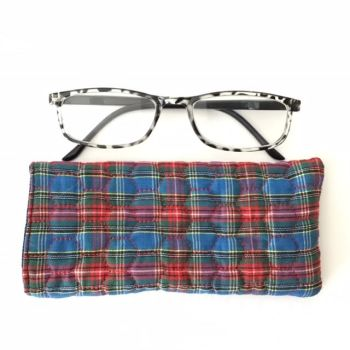 Blue and Red Tartan quilted glasses case