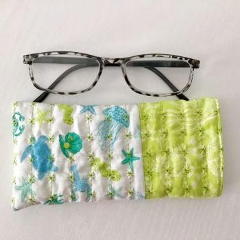 Sea themed Blue and Green Quilted Glasses Case