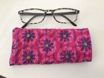 Flowers in bright Pink and Blue Quilted Glasses Case