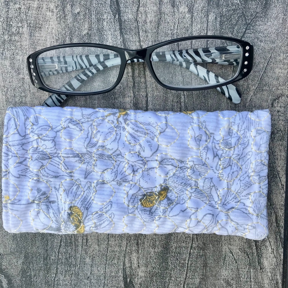 Bees and Flowers quilted glasses case