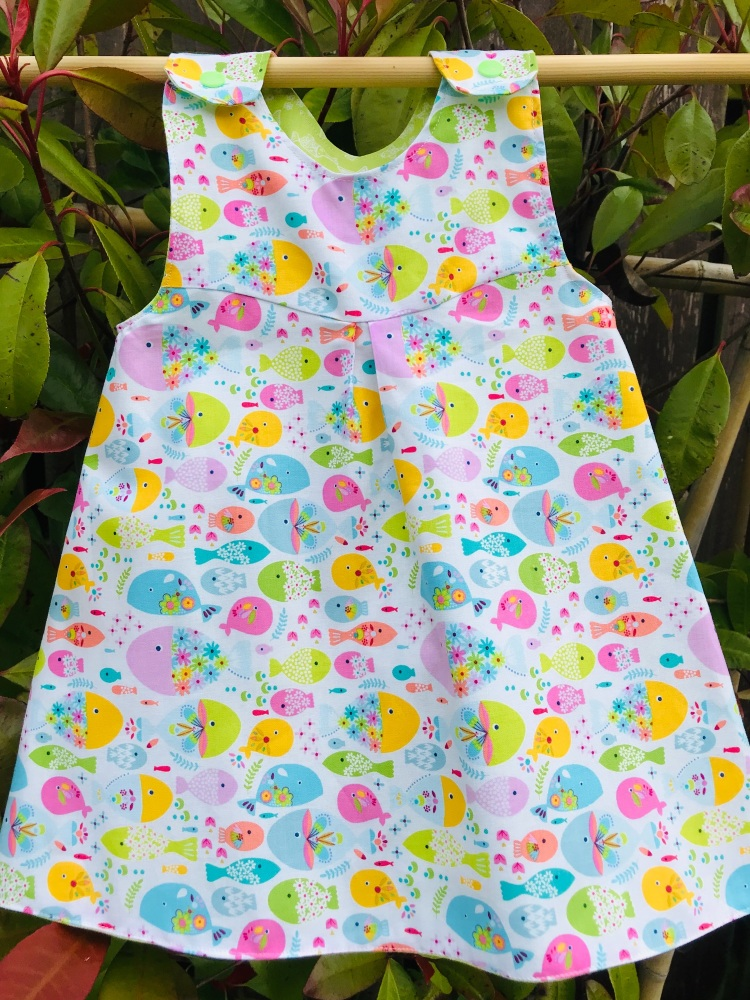Colourful Fish Reversible Dress 12-18 months (last on this fabric)