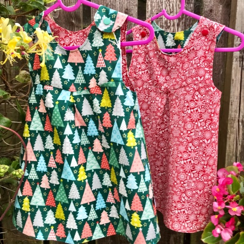 Christmas Reversible Dress with Trees and Snowflakes (3-6 months up to Age