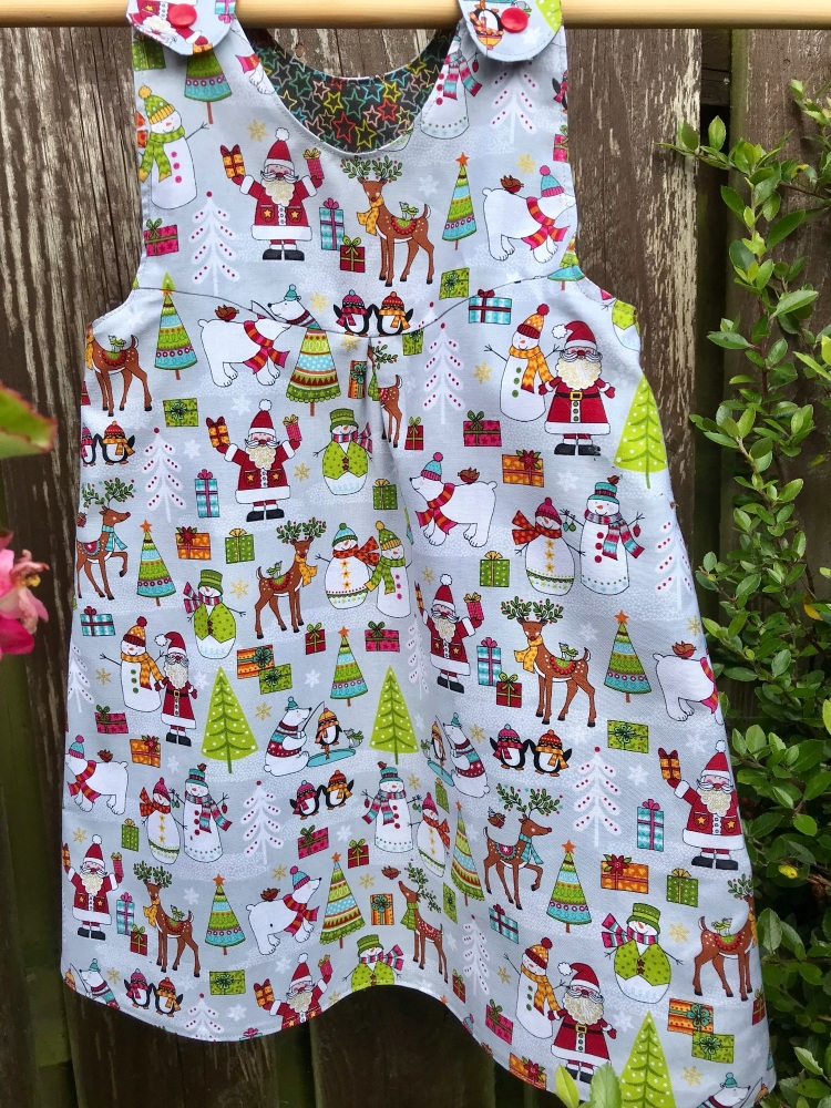 Christmas Fun and Stars Reversible Dress - Age 3 years