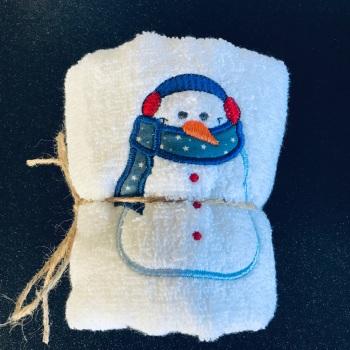 Snowman hand towel  - blue