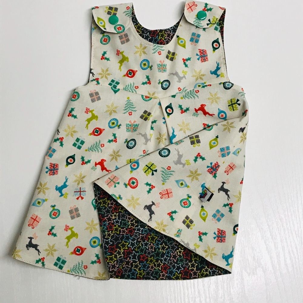 Baby Dress with mini Christmas on cream and stars - 3-6 months