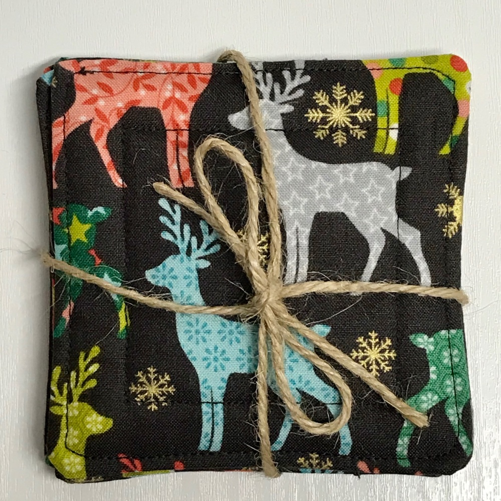 Green and gold Christmas tree coasters/Mug Rugs - set of 4