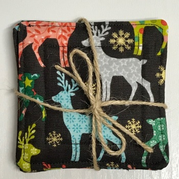 Christmas Reindeer Mug Rugs/coasters - set of 4