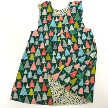 Christmas Trees and Mini Holly Leaves Reversible Dress  - 12-18months