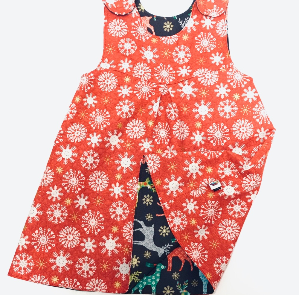 Christmas Reversible Dress with Trees and Mini Holly  - 12-18months