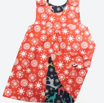 Snowflakes and Reindeer Reversible Christmas Dress - 12-18months