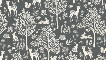Woodland Dark Grey fabric by Makeower - sold by the 0.5 metre