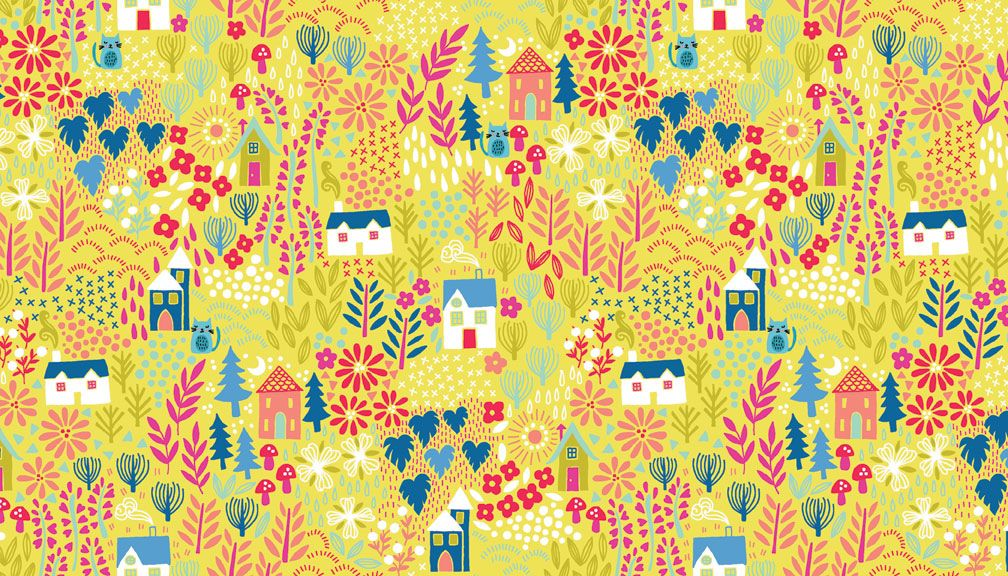 Blue Woodland Scene fabric by Makeower - sold by the 0.5 metre