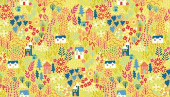 Yellow Kitty fabric by Makeower - sold by the 0.5 metre