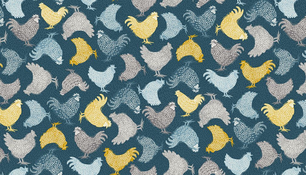 Grove Cream Chicken fabric by Makeower - sold by the 0.5 metre