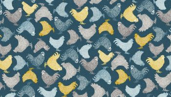 Grove Blue Chicken fabric by Makeower - sold by the 0.5 metre