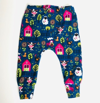 Navy Farm scene Legging  - Sizes up to 6 years (Matching Hat available)