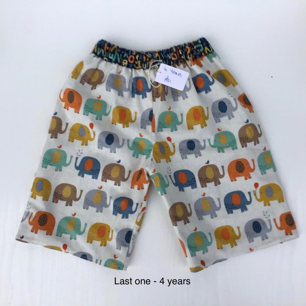 Elephant and Alphabet Reversible Shorts - 4 years