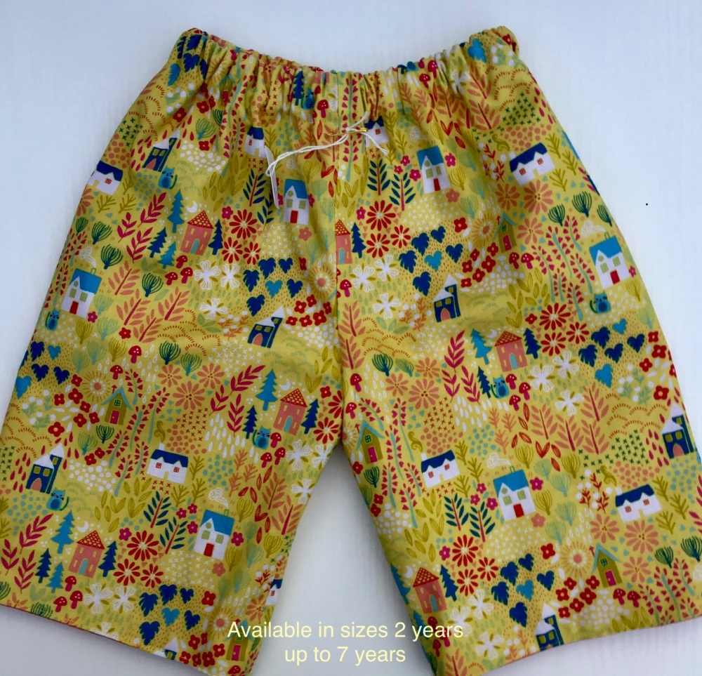 Cargo Style Reversible Shorts with Tractors and Diggers - 2 years