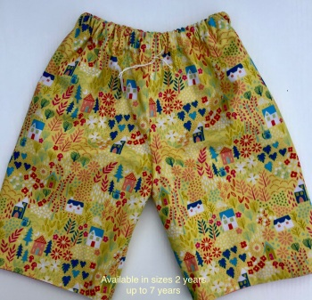 Yellow and Pink home and garden reversible shorts - 2 years  up to 10 years