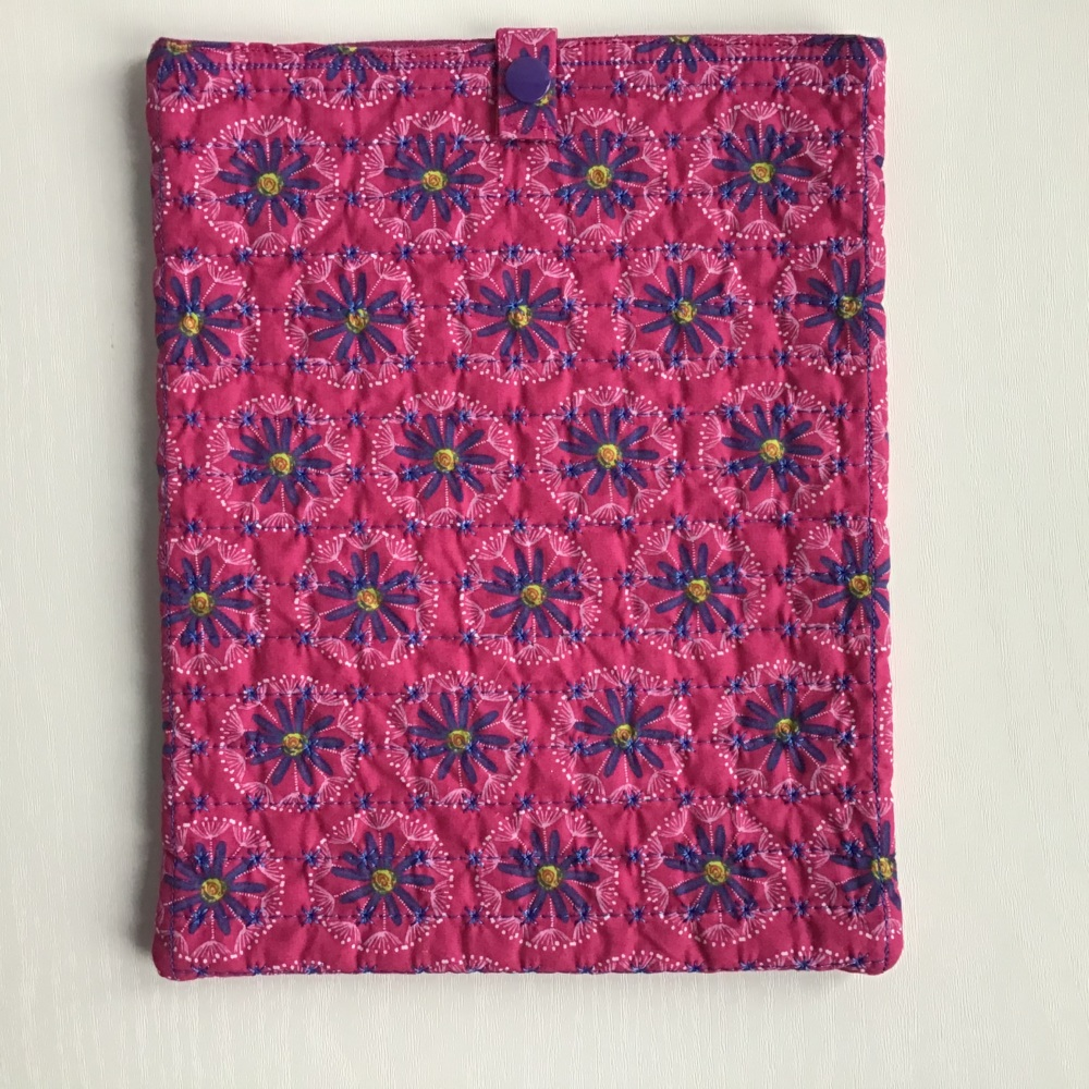 Bright Pink and Purple Flower pattern quilted iPad/Tablet case