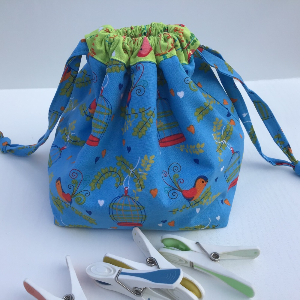 Peg Bag or Hobby Bag  - Blue forest with Animals and trees fabrics