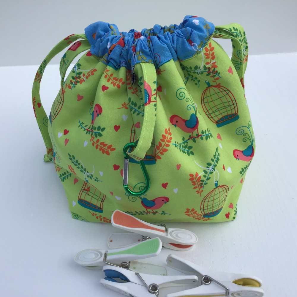 Peg Bag or Hobby Bag  - Bright Blue and Green with Birds and Birdcages