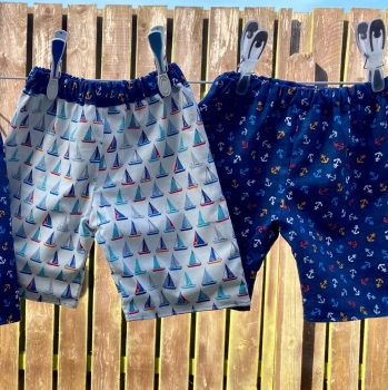 Nautical reversible shorts with Yachts and Anchor fabrics - 2 years  up to 10 years