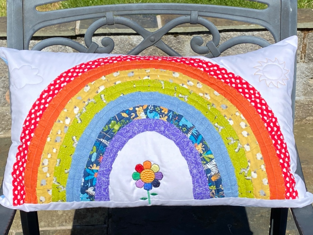Quilted Rainbow Cushion cover