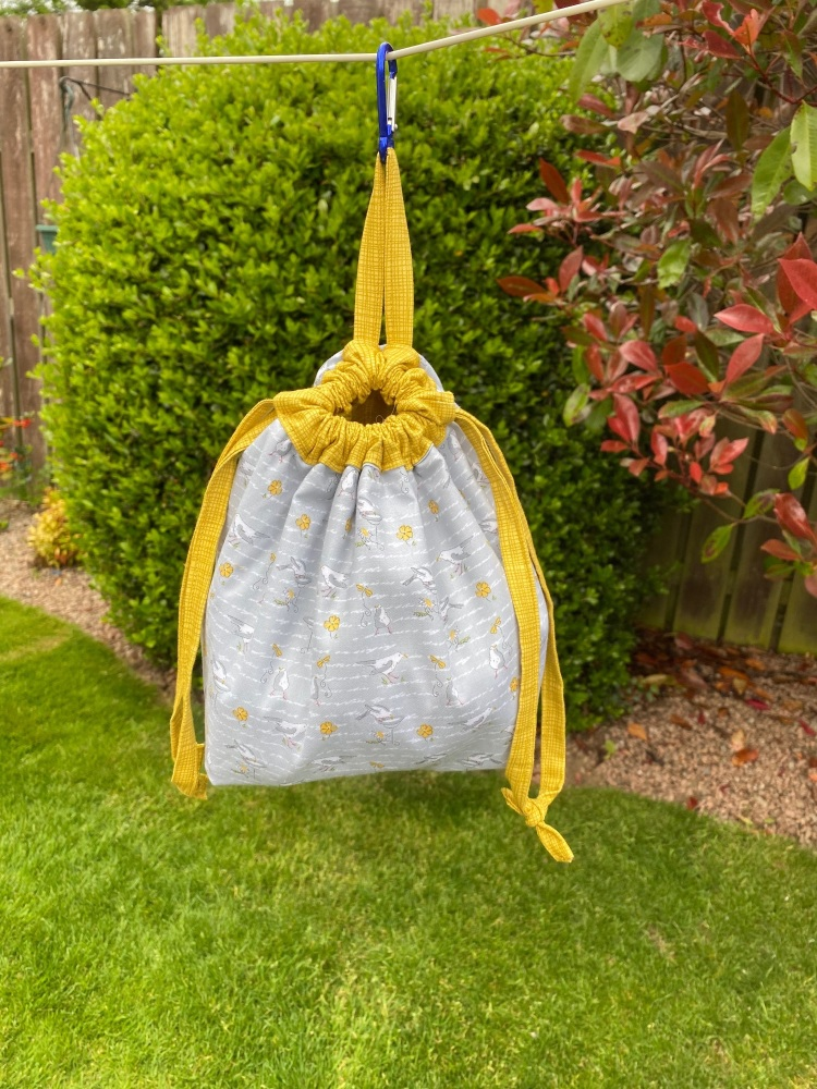 Peg Bag or Hobby Bag  - Blue with gold trees