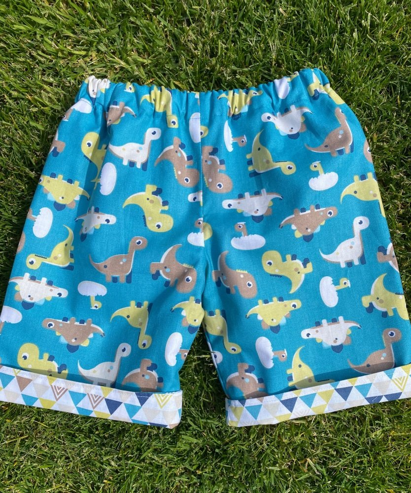Nautical reversible shorts with Yachts and Anchor fabrics - 2 years  up to