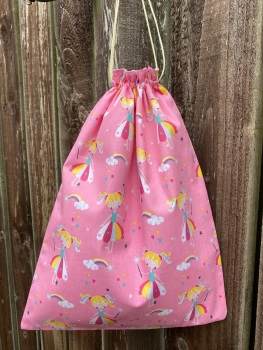 Fairies, Rainbows and Stars Drawstring Cotton School/Nursery bag